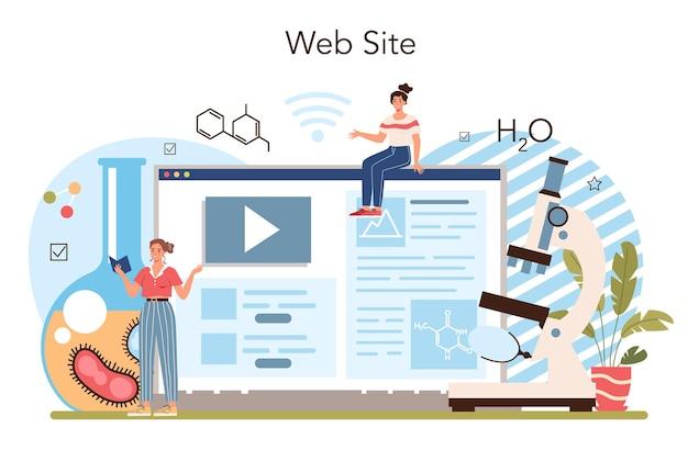 Chimica che studia servizio o piattaforma online. lezione di chimica
