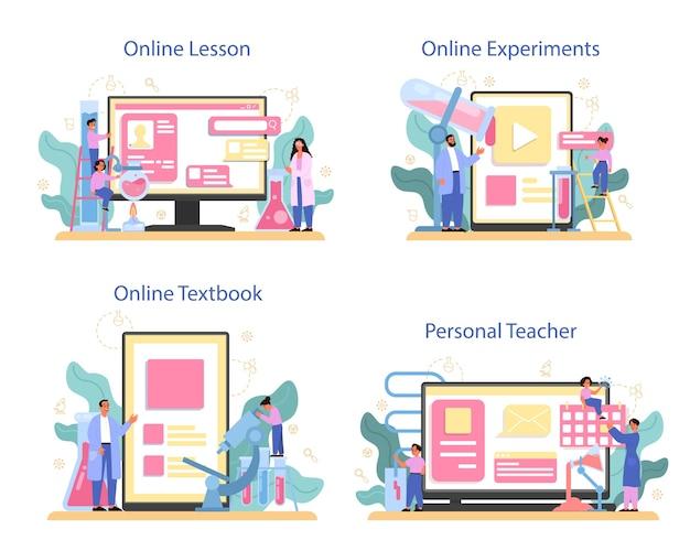 Chimica che studia servizio online o set di piattaforme. lezione di chimica. esperimento scientifico. lezione online, insegnante personale, esperimento online, libro di testo.