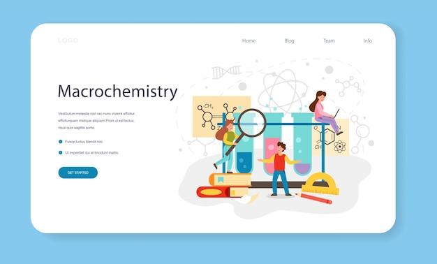 Chimica che studia banner web o lezione di chimica sulla pagina di destinazione