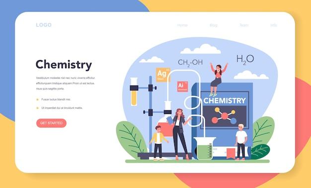 Chimica studiando banner web o pagina di destinazione