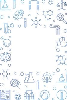 Struttura di linea vettore verticale blu chimica. sfondo chimico
