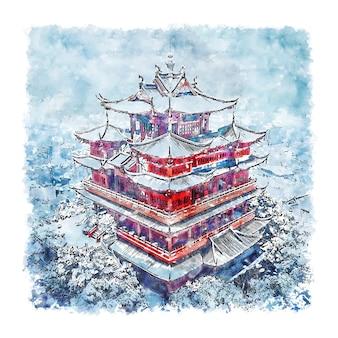 Illustrazione disegnata a mano di schizzo dell'acquerello della cina della pagoda di chenghuang