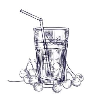 Schizzo di cocktail di frutta di ciliegie. immagine di succo di ciliegia. stile di incisione. illustrazione vettoriale disegnato a mano isolato su priorità bassa bianca.