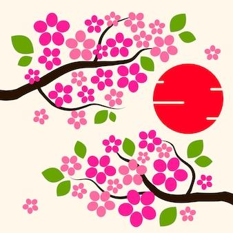 Sfondo di fiori di ciliegio fiori di sakura rosa sul ramo piatto vector illustration