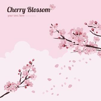 Cherry blossom background con rami Vettore Premium