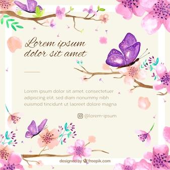 Priorità bassa del fiore di ciliegia con acquerello floreale Vettore Premium