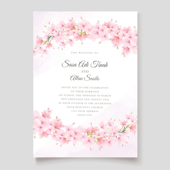 Modello di carta di invito fiore di ciliegio Vettore Premium