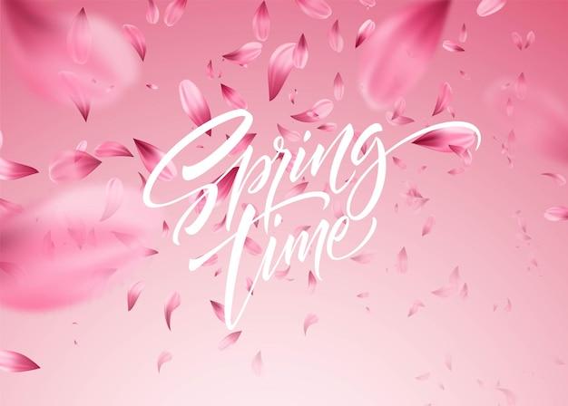 Sfondo di petali di fiori di ciliegio con scritte in primavera. illustrazione