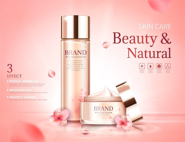 Banner per la cura della pelle dei fiori di ciliegio con petali volanti in stile 3d