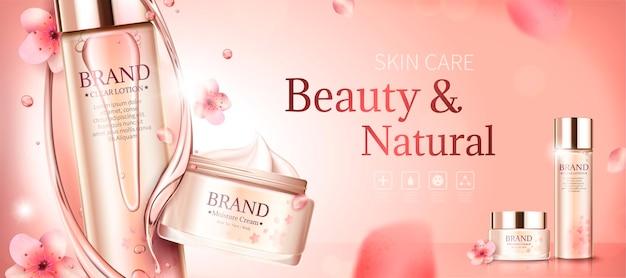 Banner per la cura della pelle dei fiori di ciliegio con essenza e petali di turbinio in stile 3d