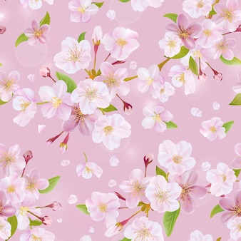 Cherry blossom spring background seamless pattern