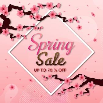 Cornice vettoriale di fiori di ciliegio. sfondo rosa sakura, banner di vendita