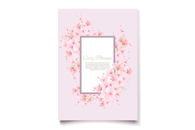 Carta di invito acquerello di fiori di ciliegio