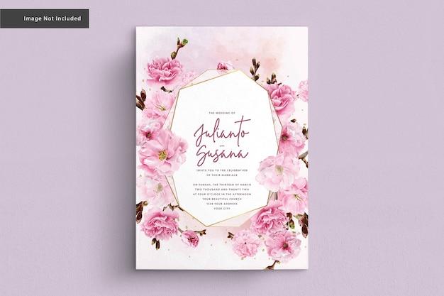 Carta di nozze dell'acquerello di fiori di ciliegio