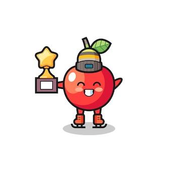 Il fumetto della ciliegia come un giocatore di pattinaggio sul ghiaccio tiene il trofeo del vincitore, un design in stile carino per maglietta, adesivo, elemento logo