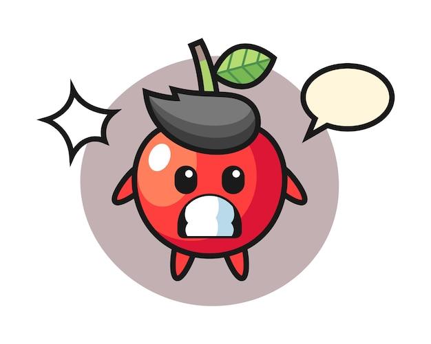 Personaggio dei cartoni animati di ciliegia con gesto scioccato, design in stile carino