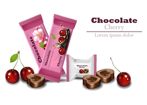 Cioccolatini ciliegio realistico vettoriale. prodotti di imballaggio logo design del marchio mock up Vettore Premium