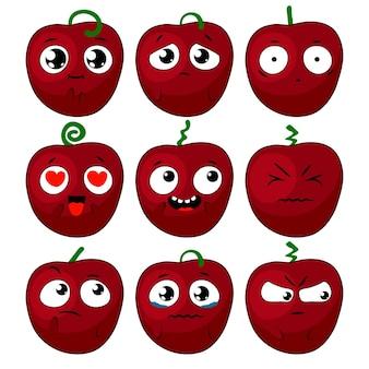 Set di emozioni di ciliegia emoji personaggio dei cartoni animati emoticon di adesivi con diverse emozioni