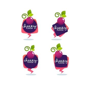 Collezione di etichette cherry flavour Vettore Premium