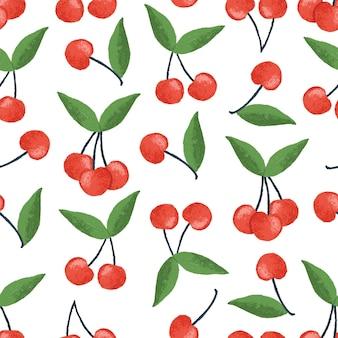 Ciliegia illustrazione seamless pattern design
