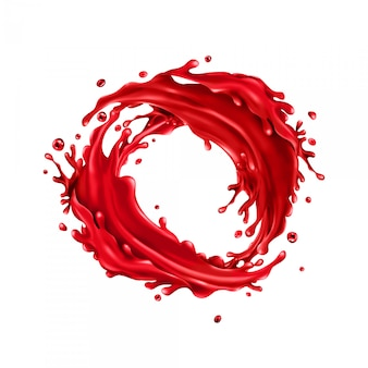 Il succo di ciliegia spruzza il cerchio su un bianco