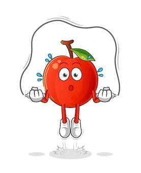 Illustrazione di esercizio della corda di salto della ciliegia. carattere