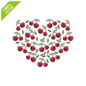 Forma di ciliegia con design piatto