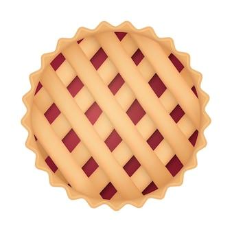 Illustrazione realistica di simbolo 3d di giorno del ringraziamento di vista superiore della torta di ciliegie isolata