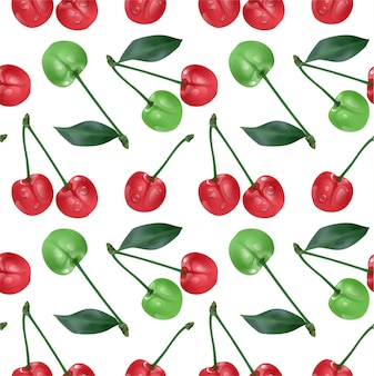 Reticolo senza giunte della ciliegia. ciliege mature rosse dolci isolate