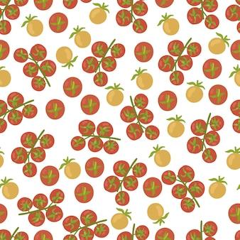 Modello senza cuciture del pomodoro di ciliegia isolato su fondo bianco