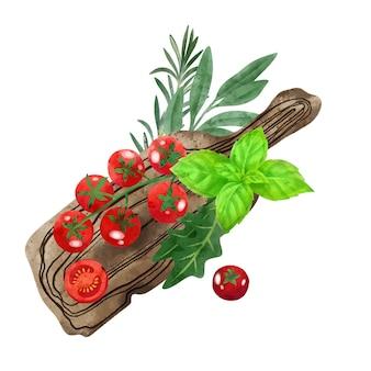 Pomodorini ed erbe aromatiche e il ramo di legno