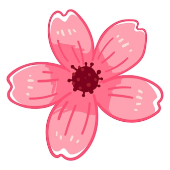 Fiore di ciliegio, icona isolata del fiore di sakura che fiorisce in primavera. stagione di hanami in giappone, festival giapponese. rinascita della primavera e della natura, arredamento romantico per la carta. vettore in stile piatto