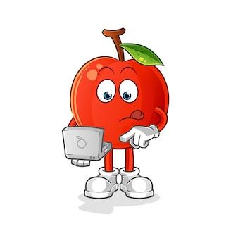 Ciliegia con la mascotte del computer portatile. cartone animato Vettore Premium