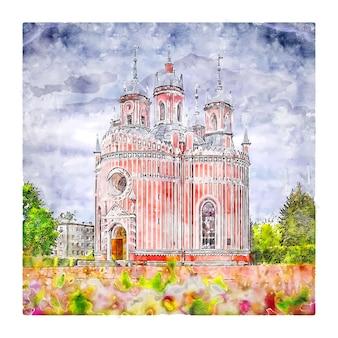 Illustrazione disegnata a mano di schizzo dell'acquerello della chiesa di chesme italia