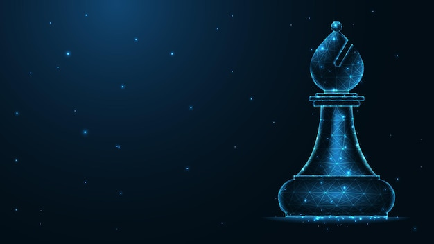 Collegamento della linea dell'alfiere di scacchi. design wireframe basso poli. fondo geometrico astratto. illustrazione vettoriale.