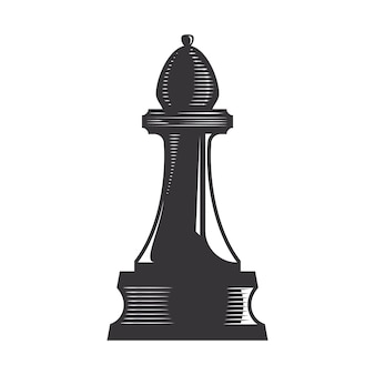 Illustrazione di arte di linea di vettore del vescovo di scacchi.