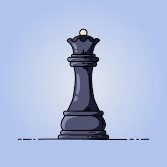 Icona piana di vettore della regina nera di scacchi
