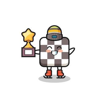 Il cartone animato della scacchiera come un giocatore di pattinaggio sul ghiaccio tiene il trofeo del vincitore, un design in stile carino per t-shirt, adesivo, elemento logo