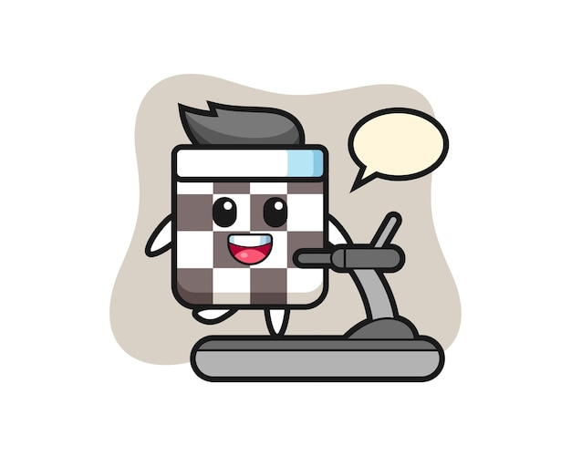 Personaggio dei cartoni animati della scacchiera che cammina sul tapis roulant, design in stile carino per maglietta, adesivo, elemento logo