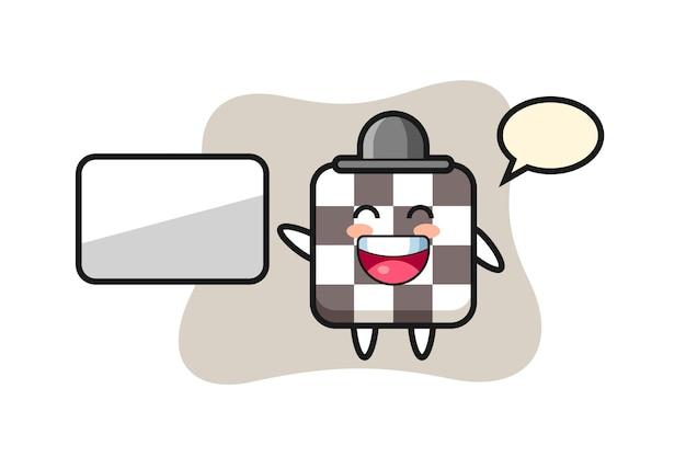 Illustrazione del fumetto della scacchiera che fa una presentazione, design in stile carino per maglietta, adesivo, elemento logo
