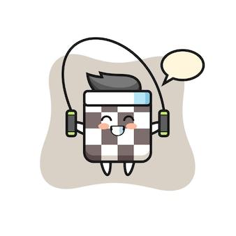Cartone animato personaggio scacchiera con corda per saltare, design in stile carino per maglietta, adesivo, elemento logo