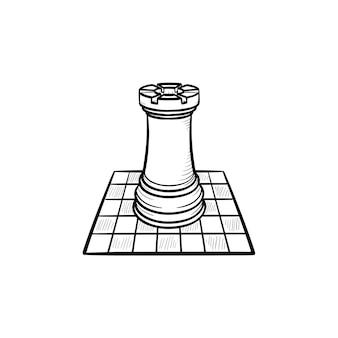 Icona di doodle di contorno disegnato a mano di scacchiera e figura. gioco intellettuale - illustrazione di schizzo di vettore di scacchi per stampa, web, mobile e infografica isolato su priorità bassa bianca.