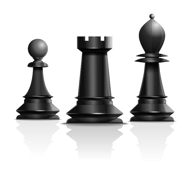 Scacchi concept design. pedone, torre e alfiere. pezzi degli scacchi isolati su sfondo bianco. illustrazione