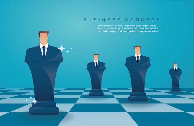 Figura di scacchi concetto di strategia aziendale Vettore Premium
