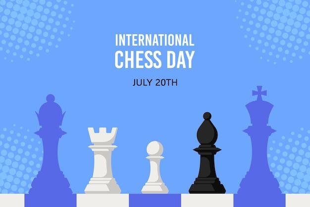 Figure di scacchi contro scacchiera isolata. banner di giornata internazionale degli scacchi
