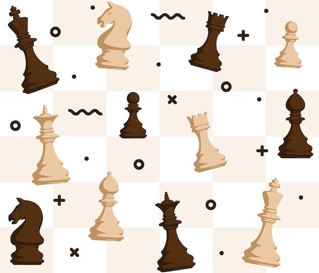 Figure di scacchi seamless pattern su sfondo scacchiera Vettore Premium