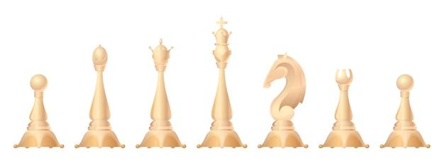 Set di figure di scacchi. re, regina, alfiere, cavallo o cavallo, torre e pedone