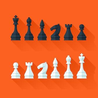 Figure di scacchi in stile moderno per concept e web. illustrazione.