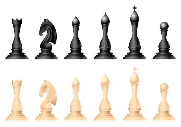 Insieme di vettore di figure di scacchi. re, regina, vescovo, cavallo o cavallo, torre e pedone - pezzi degli scacchi standard. gioco da tavolo strategico per il tempo libero intellettuale. oggetti in bianco e nero.