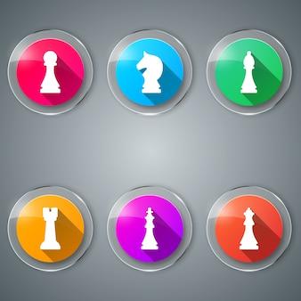 Scacchi, gioco set di icone a colori.